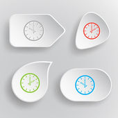 Clock. White flat vector buttons on gray background. — Vettoriale Stock