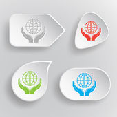 Protection world. White flat vector buttons on gray background. — Stock Vector