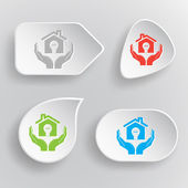 Economy in hands. White flat vector buttons on gray background. — Stockvektor