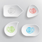 Global communication. White flat vector buttons on gray backgrou — Stock Vector