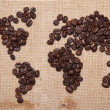 Stock Photo: Coffee map on hessibackground