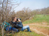 A man taking photo of a district — Stock Photo