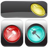 Mallet. Vector internet buttons. — Stock Vector