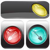 Spade. Vector internet buttons. — Stock Vector
