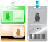 Owl. Vector id cards. — Stock Vector