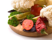 Juicy and fresh cut vegetables. A set of vegetables for making s — Stock Photo