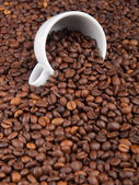 A white cup with many coffee beans on coffe background — ストック写真