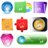 Home work buttons — Stock Vector