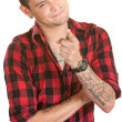 Man Pointing a Finger — Stock Photo
