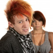 Mad Woman with Naive Man - Stockfoto
