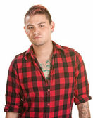 Annoyed Male in Flannel Shirt — Stock Photo