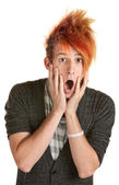 Surprised Man with Spiky Hair — Stock Photo