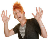 Frightened Man in Orange Hair — Stock Photo