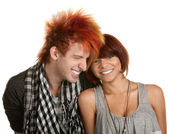 Giggling Teenage Couple — Stock Photo