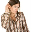 Hispanic Woman With Hand Near Ear — Stock Photo