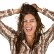 Laughing Woman With Messy Hair - 图库照片