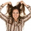 Upset Woman Pulling Hair - Stock Photo