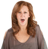 Horrified Woman Over White — Stock Photo