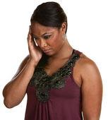 Black Woman Holding Head — Stock Photo