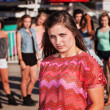 Skeptical Teenage Girl at Carnival — Stock Photo