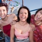 Happy Girls at an Amusement Park — Stock Photo