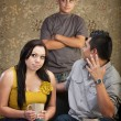 Disprespectful Teen with Parents — Stock Photo