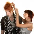 Lady Working with Man's Hair - Stock Photo