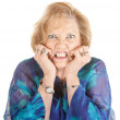 Woman With Hands on Face — Stock Photo