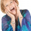Blond Senior Woman Screaming - Stock Photo