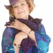 Cute Older Woman in Purple Hat — Stock Photo