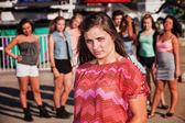 Skeptical Teenage Girl at Carnival — Stock Photo