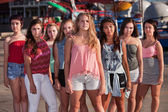 Serious Group of Girls at Park — Stock Photo