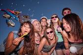 Teen Girls Blowing Bubbles — Stock Photo