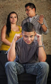 Rude Teenager Plugs Ears — Stock Photo