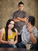 Disprespectful tiener met ouders — Stockfoto