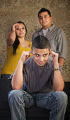 Problem Child Plugging His Ears — Stock Photo
