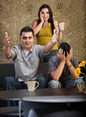 Excited Family Watching TV — Stock Photo