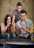 Family Learning To Play Video Games — Stock Photo