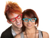 Couple in Red and Blue Glasses — Stock Photo