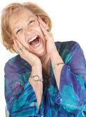 Blond Senior Woman Screaming — Stock Photo