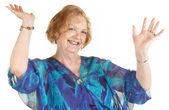 Laughing Woman With Hands Up — Stock Photo