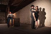 Tango Dancers With Bandonion Player — Stock Photo