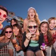 Group of Girls Blowing Bubbles — Stock Photo