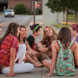 Female Students Sitting on the Ground — Foto de Stock