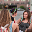 Female Students Talking Outside — Stock Photo