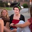 Teen Girls Texting Messages — ストック写真