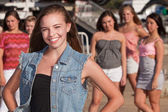 Confident Girl with Jealous Friends — Stock Photo