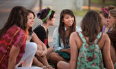 Female Students Talking Outdoors — Zdjęcie stockowe