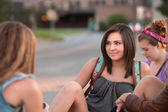 Teen Girls Sitting Outside — Stock Photo