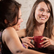 Stock Photo: Pair of Female Friends Smiling